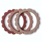 Set van 3 silicone bijtringen bloem - Flower teether bracelet blush/ pink/yvory