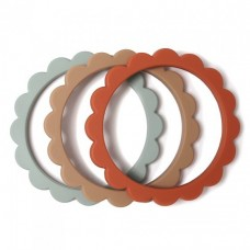 Set van 3 silicone bijtringen bloem - Flower teether bracelet cambridge blue / clementine / natural