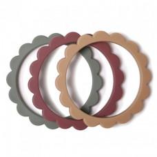 Set van 3 silicone bijtringen bloem - Flower teether bracelet dried thyme / berry / natural