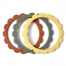Set van 3 silicone bijtringen bloem - Flower teether bracelet sunshine / dried thyme / clay