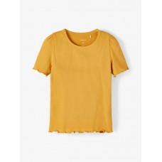 Okergele ribbelshirt - nmfdora spruce yellow