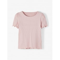 Oudroze ribbelshirt - nmfdora zephyr