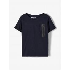 Donkerblauwe t-shirt met ritsdetail - Nmmjesper dark sapphire
