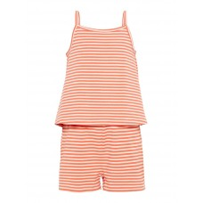 Koraal gestreept zomerse jumpshort - Nkfpalma strap suit strawberry cream