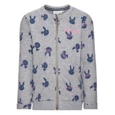 Grijze melé trui met konijntjes - nitefelise grey melange
