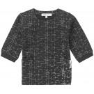 Zwart kleedje met fijne witte strepen - black grapvine - maat 62 (Geboortelijst Suza B.)