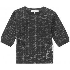 Zwart kleedje met fijne witte strepen - black grapvine