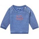 Blauwe t-shirt lange mouwen met driehoekmotief - indigo blue Denison - maat 56 (Geboortelijst Joa v.G.)