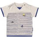 Grijs mêlee t-shirtje korte mouwen met visjes - off white melange