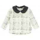 Witte t-shirt met zwart stipjes en kraagje - optic white Wilma  - maat 62 (Geboortelijst Oona M.)