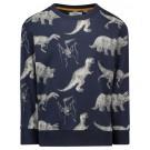 Diep donkerblauwe sweater met dinoskeletten