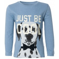 Petrol- grijze t-shirt met hond - just be cool - ice blue Alcoa