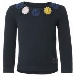 Donkerblauwe geribbelde t- shirt met bloemenapplicaties - Ankeny