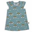 Grijsblauw babykleedje met regenbogen - dress kik rainbow - maat 50-56 (Geboortelijst Suzanne V.P.)