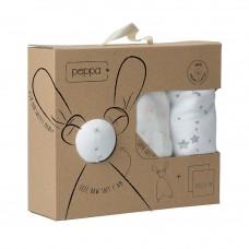 Peppa gift set met 2 xl tetradoeken en Floppy knuffelpopje - taupe/ baby pink stars