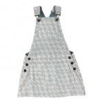 Salopetkleedje met blauwe print - dungaree skirt flowers blue