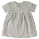Pistache kleurig kleedje met kleurrijke stipjes - pretty reversible dress
