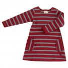 Bordeaux kleed met grijsblauwe strepen - breton stripes