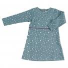 Grijsblauw kleedje met stipjes - skaterdress - maat 6-12 maand (Geboortelijst Leonie C.)