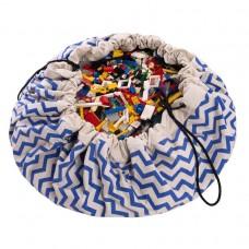 Speeltapijt -/ opbergzak blauw zigzag patroon
