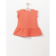 Koraalkleurig kleedje met bloemenreliëf - bonjour Provence papaya flash : maat 128