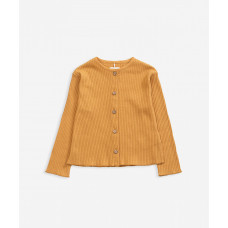 Okergeel geribbelde cardigan - Interlock jacket sea almond