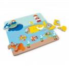 Knop- en legpuzzel mix de duikboot in de zee