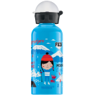 Lichtblauwe drinkbus met skiërs 400ml