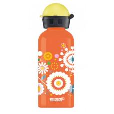 Oranje drinkbus met bloemen