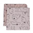 Multifunctionele (inbaker)doeken safaridieren - rooskleurig (Geboortelijst Sue Deyaert)