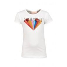 Ecru t-shirt met regenboogprojectie - ecru som (stapelkorting)