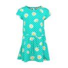Appelblauwzeegroen kleed met madeliefjes - dark mint yard