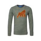 Kaki melange t-shirt met gorilla - khaki melange kong