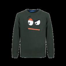 Donkergroene sweater met gezicht - Matteo dark green