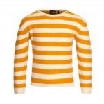 Okergeel gestreepte gebreide sweater - Dixie dark oker