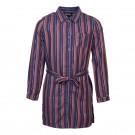 Blauw met roest gestreept kleedje - Billie navy
