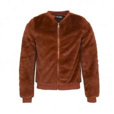 Bruin fluffy jasje- billie cognac