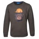 Donkerkaki melange trui met gorilla - Kong dark khaki melange
