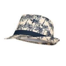 Rieten hoed met palmbomen - head blue