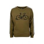 Kaki sweater met fiets - Speedup olive
