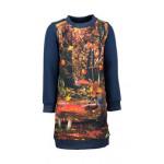 Donkerblauwe sweaterjurk met fotoprint vos - Papillon navy  (stapelkorting)