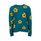 Zachte fluffy petrol sweater met okergele bloemen - Kaat petrol