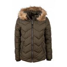 Kaki kleurige winterjas met afneembare capuchon en pels - Nebraska khaki