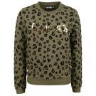 Kaki sweater met luipaardprint - khaki sansa (stapelkorting)