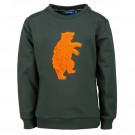 Donkergroene sweater met beer - Flint dark green