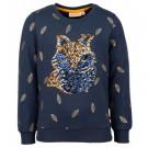 Donkerblauwe sweater met vosje - leafy navy (stapelkorting)