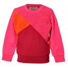 Roze/ bordeaux sweater met faux fur vlakken - Teddy medium pink