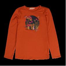 Bruinoranje t-shirt met paddenstoelen - Mushy burnt orange