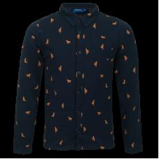 Donkerblauw hemdje met hondjes - Loup navy