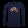 Donkerblauwe t-shirt met regenboog - Zanna navy